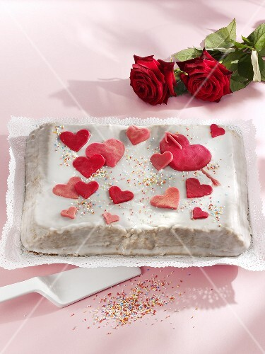 Valentine cake with marzipan hearts