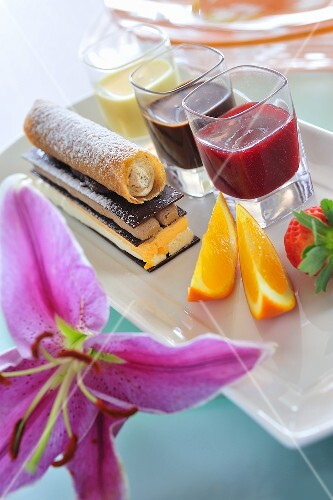 Chocolate and mousse confection with various fruit sauces – buy ...