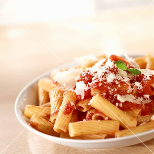 Rigatoni with tomato sauce and Parmigiano