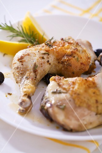 Chicken legs with olives and rosemary