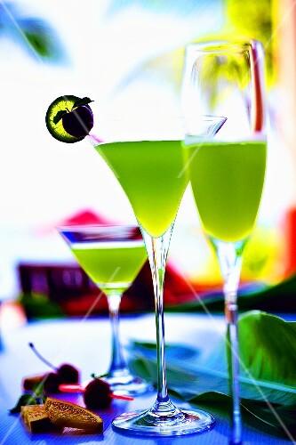 Three green vodka cocktails