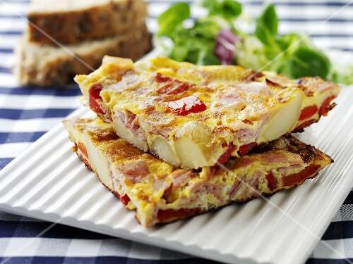 Ham and vegetable omelette