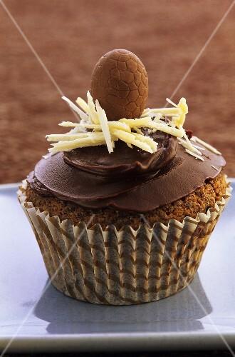 A chocolate Easter cupcake