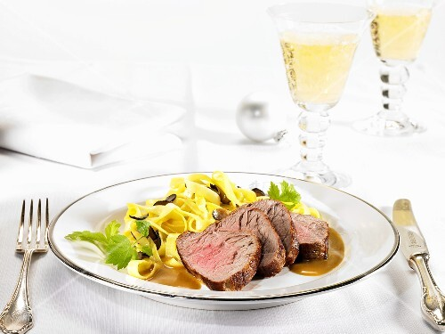 Veal fillet with an orange and vodka sauce and truffle pasta