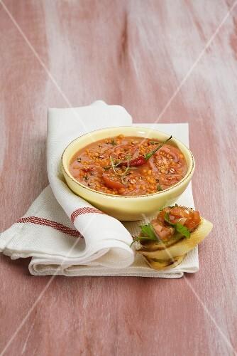 Chilli lentil soup with bruscetta