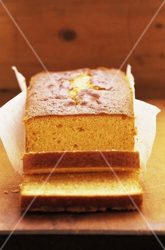 Orange cake, sliced