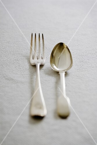 Antique silver cutlery (fork and spoon)