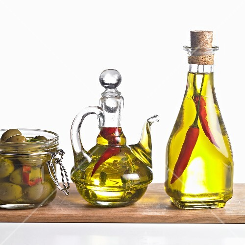 Olives, chilli oil with herbs and chilli oil