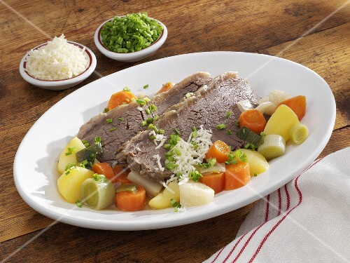 Boiled beef with vegetables, horseradish and chives