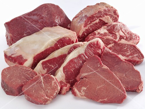 Various cuts of beef (fillet, loin, rump)