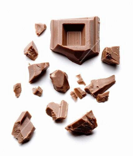 Chunks of Chocolate on White Background