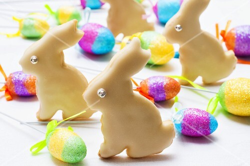 Easter Bunny biscuits and coloured eggs
