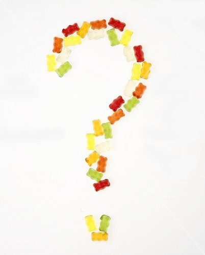 Gummi bears forming a question mark