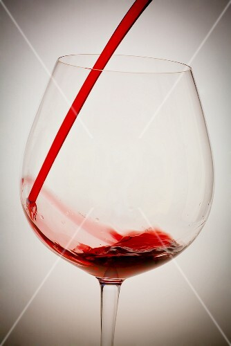 Red Wine Pouring into a Glass From Bottle