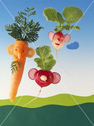 Amusing carrot and radish figures