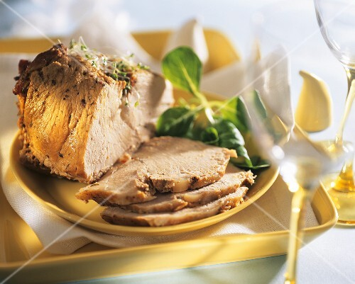 Roast pork with radish sprouts for Easter (Poland)