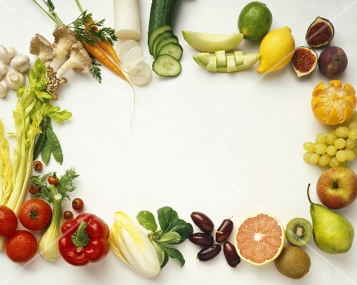 Fruit and vegetables forming a frame