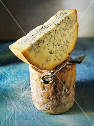 Blue cheese with cheese knife