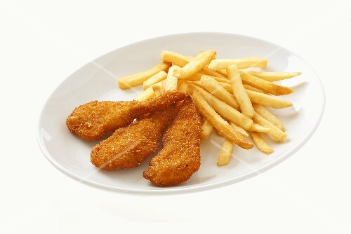 Crispy chicken escalopes with chips