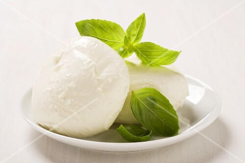 Mozzarella with basil leaves