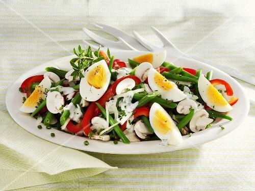 Colourful bean, egg and mushroom salad