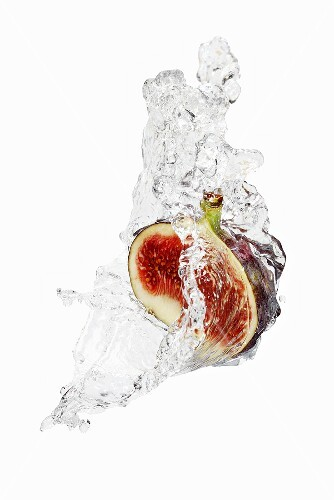 Half a fig with splashing vodka