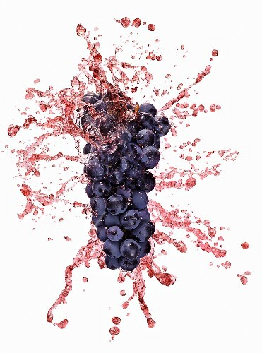 Red grapes with juice splash
