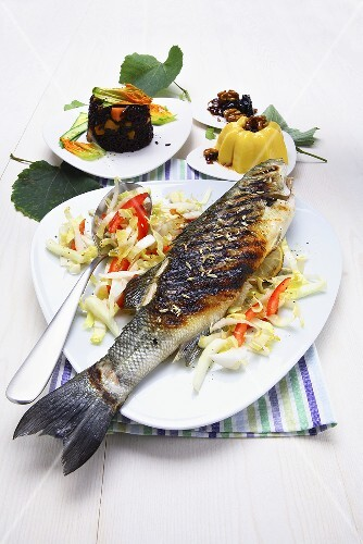 Branzino alla griglia (Grilled sea bass with vegetables, Italy)