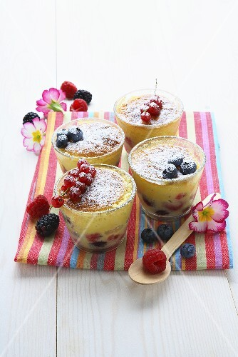 Berry pudding in four glasses