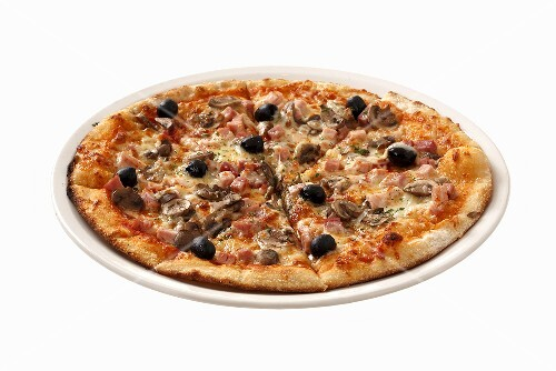 Ham and mushroom pizza with olives