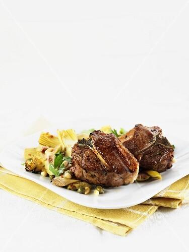 Lamb chops with artichoke salad