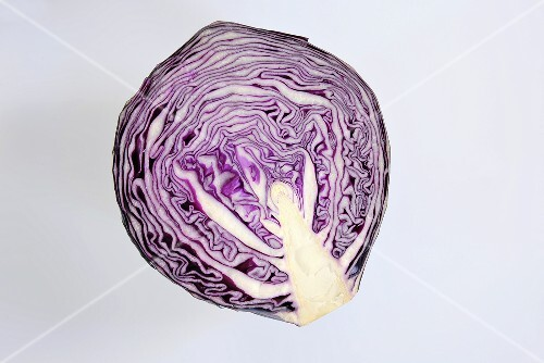 Half a red cabbage (overhead view)