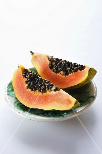 Papaya wedges on plate