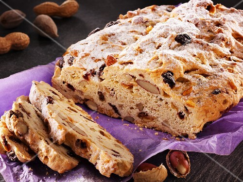 Christmas stollen, partly sliced