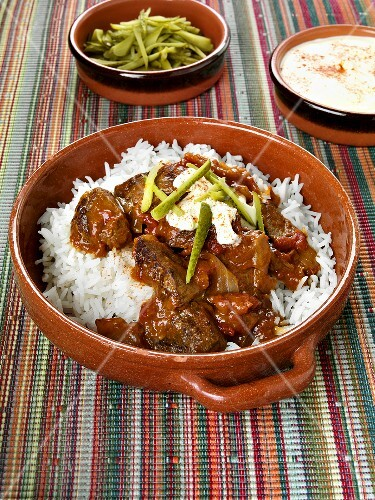 Beef goulash on rice