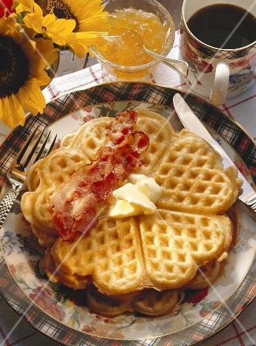Breakfast Waffles and Coffee.