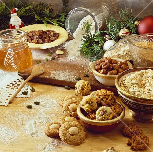 Nut biscuits & healthy baking ingredients for Christmas biscuits