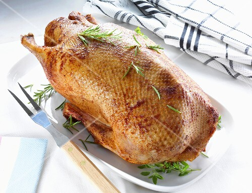 Roast goose with herbs