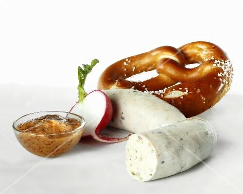 Weisswurst (white sausage) with pretzel and mild mustard