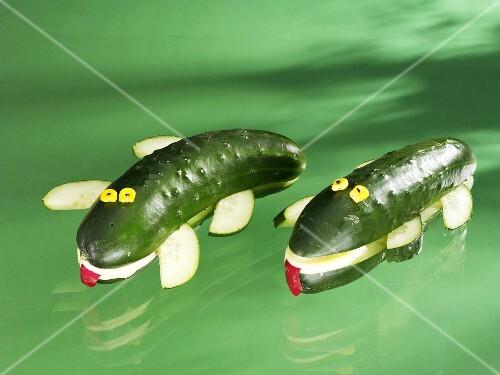 Two cucumber crocodiles