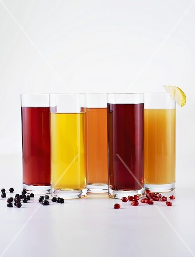Various glasses of fruit juices