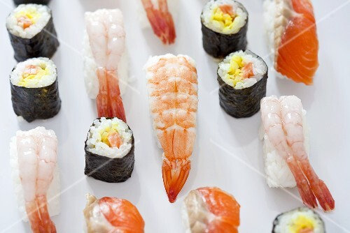 Various types of nigiri and maki sushi