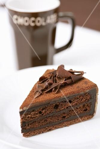 Piece of Three Layer Chocolate Cake
