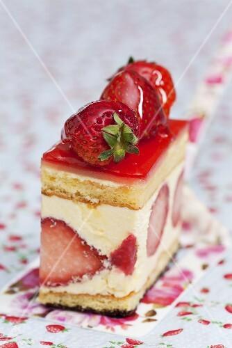 A piece of strawberry flan