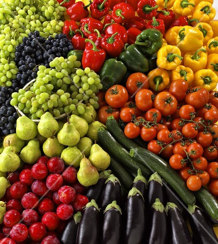 Various vegetables and fruit (macro zoom)
