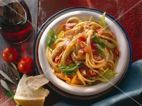 Bowl of Spaghetti with Turkey and Tomato Sauce