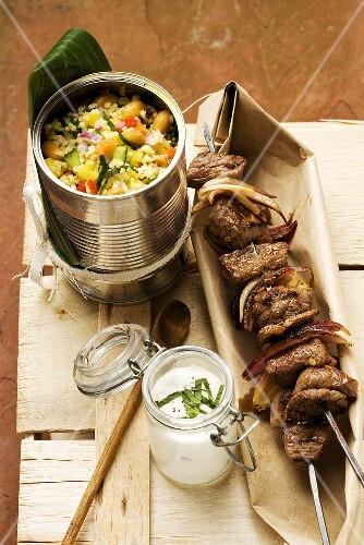 Lamb kebab with hirse tabbouleh and a yogurt dip