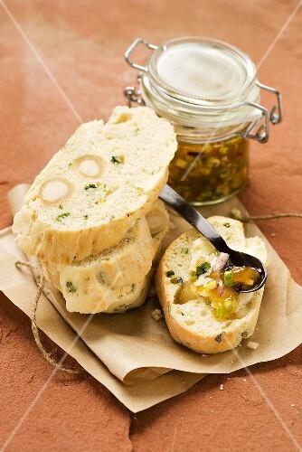 Damper bread (Australian bush bread) and apricot chutney