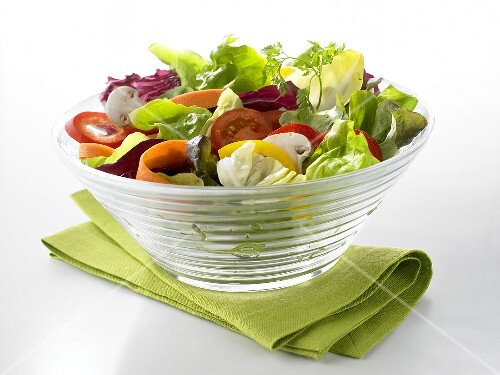 Mixed salad in a glass bowl