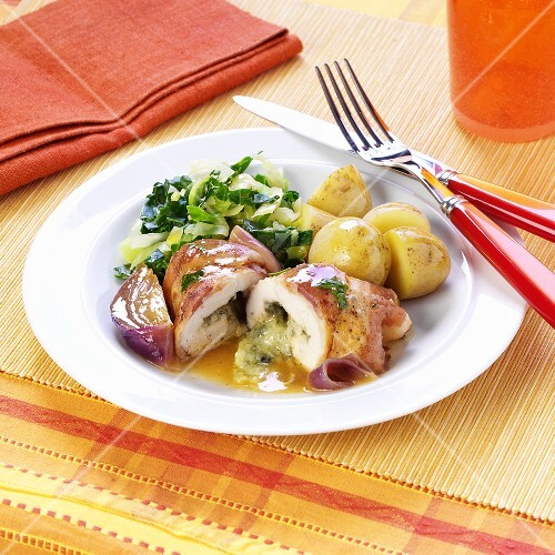 Stuffed bacon-wrapped chicken roulades